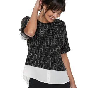 Elle Sweaters - Elle tweed mock-layer short sleeve knit sweater